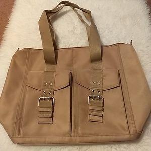 Brown Carry-all shoulder tote bag pockets large